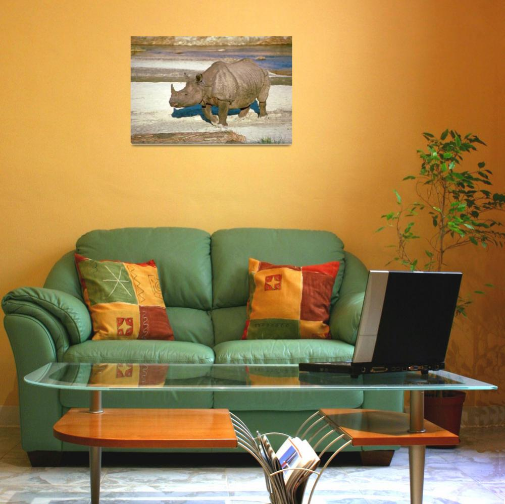 """""""Endangered Great Indian One-Horned Rhino""""  by ArtLoversOnline"""