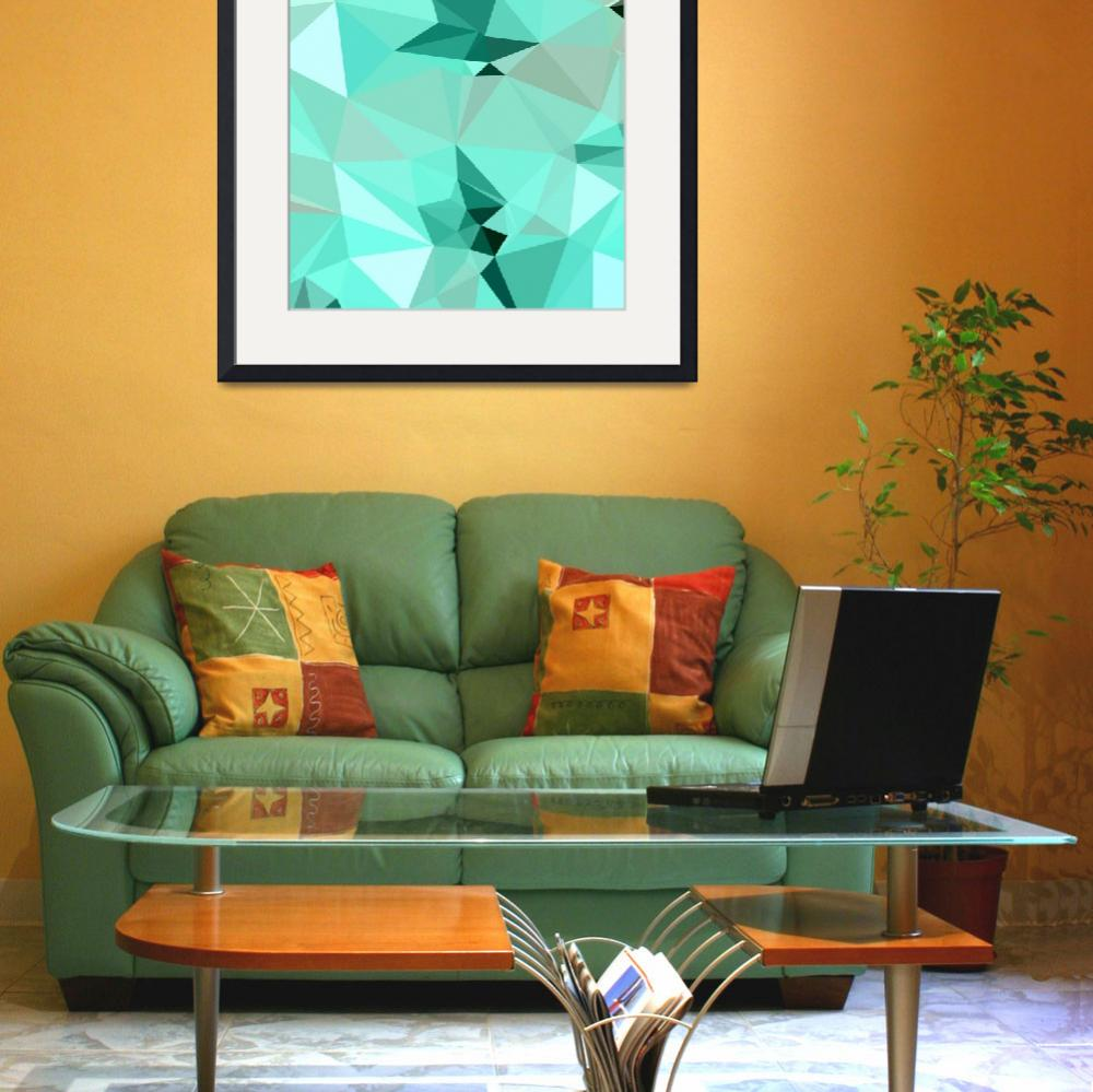 """""""Caribbean Green Abstract Low Polygon Background&quot  (2015) by patrimonio"""