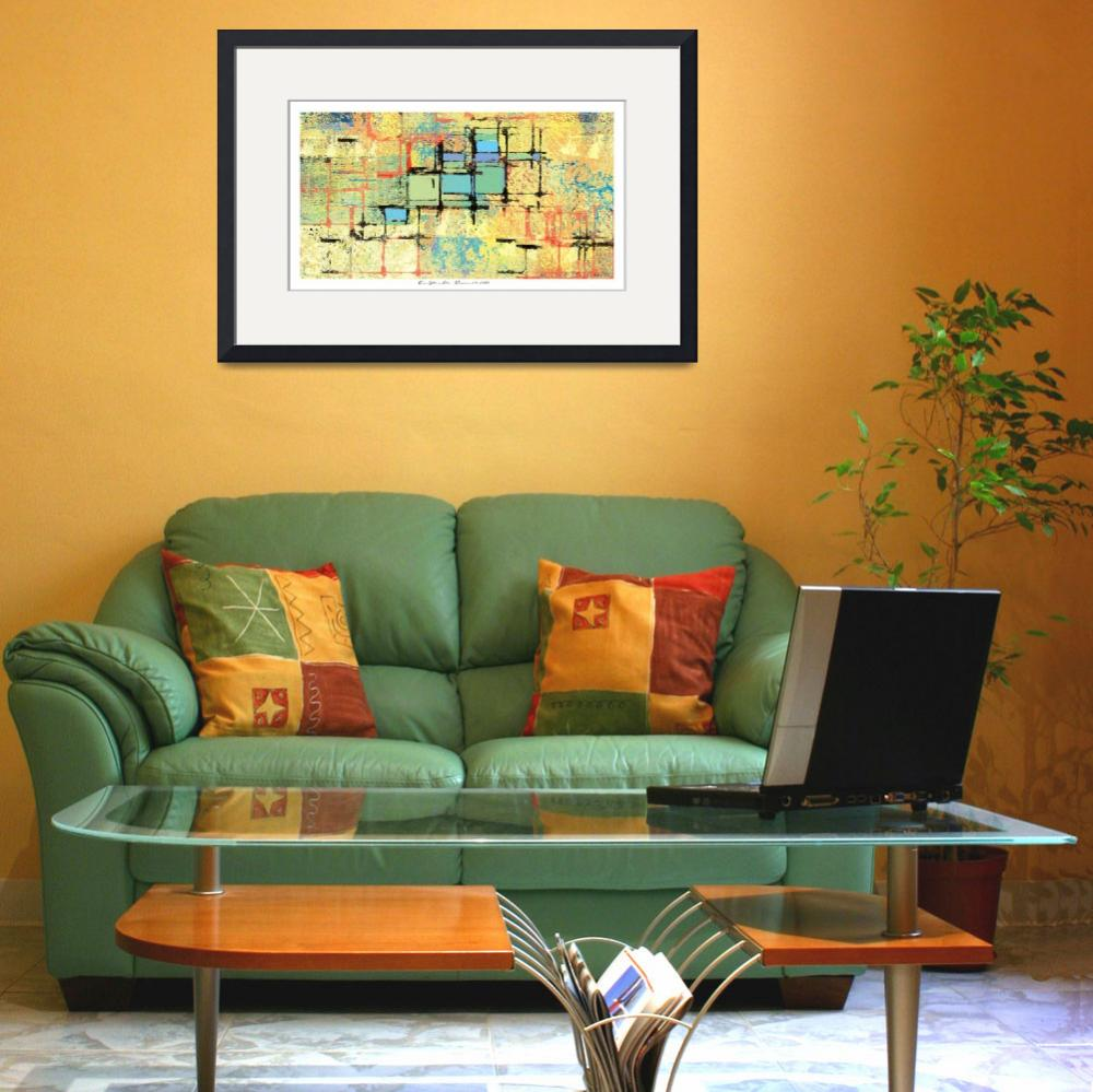 """""""Green Lattice on Yellow Abstract Painting&quot  by karynlewis"""