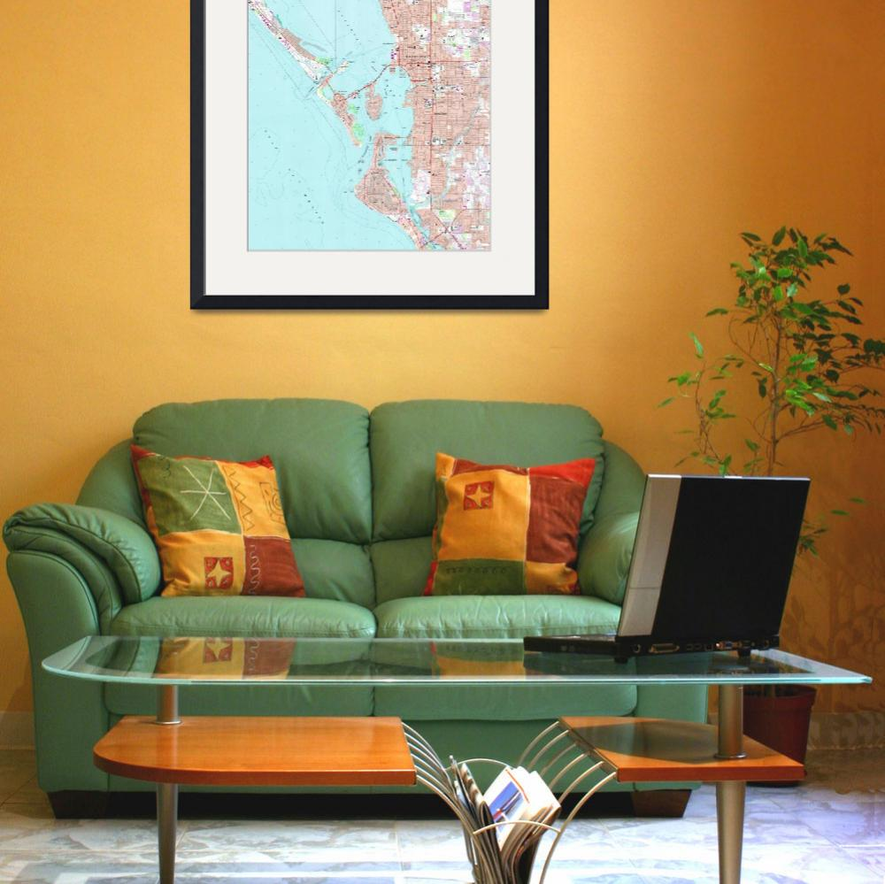 """Vintage Map of Sarasota Florida (1973)&quot  by Alleycatshirts"