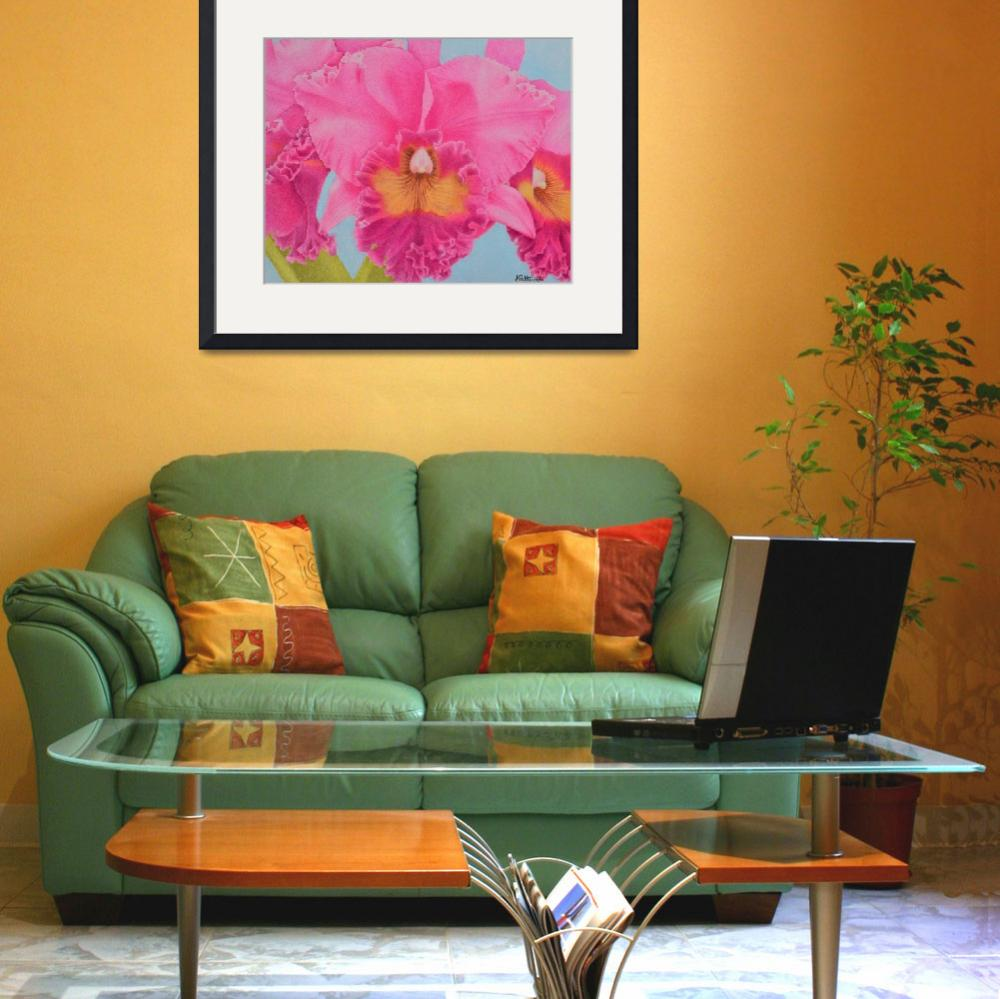 """""""Pink Orchid&quot  by sharonpattersonsart"""