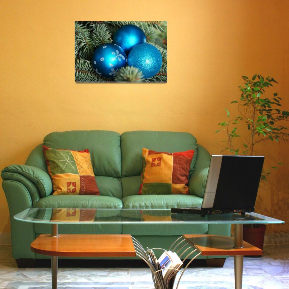 """Christmas balls handing on a green tree.&quot  by Piotr_Marcinski"