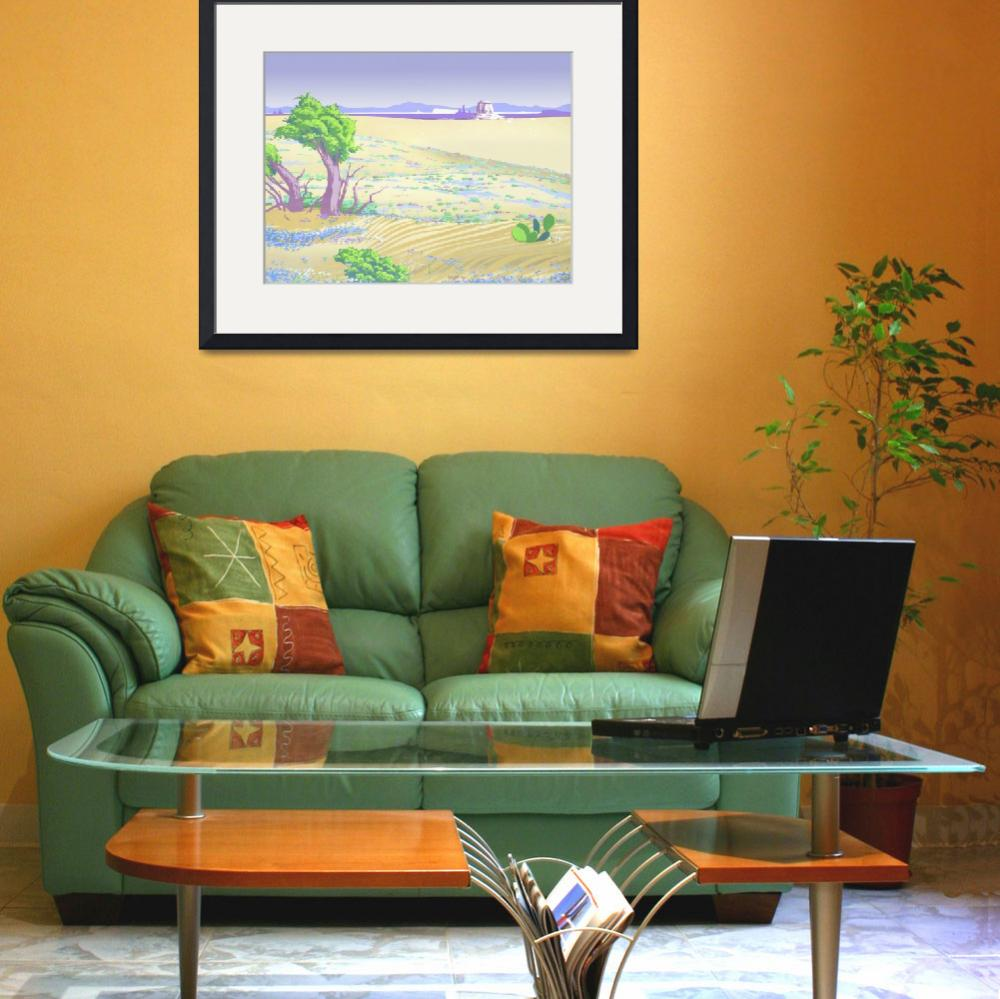 """""""Painted Desert Abstract Retro Landscape - 1980s po&quot  (1986) by walt-curlee"""