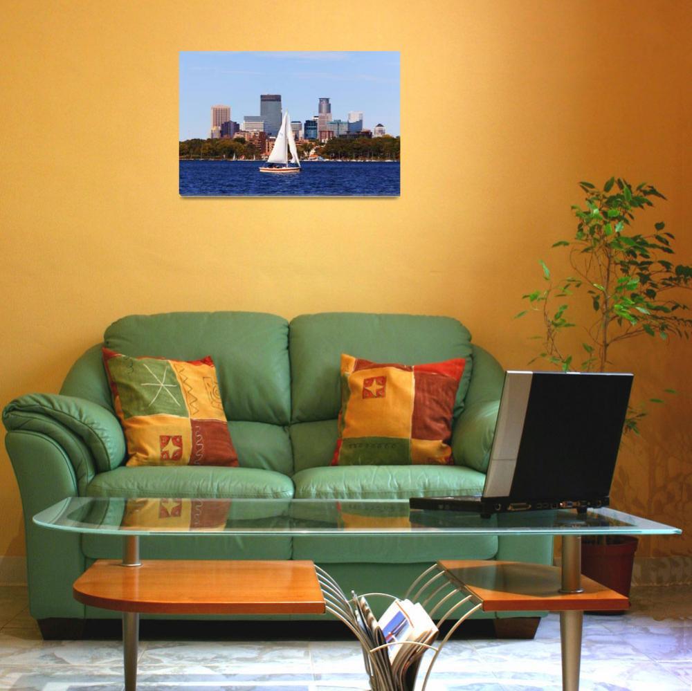 """""""Minneapolis Skyline over Lake Calhoun III&quot  (2010) by WaynePhotoGuy"""