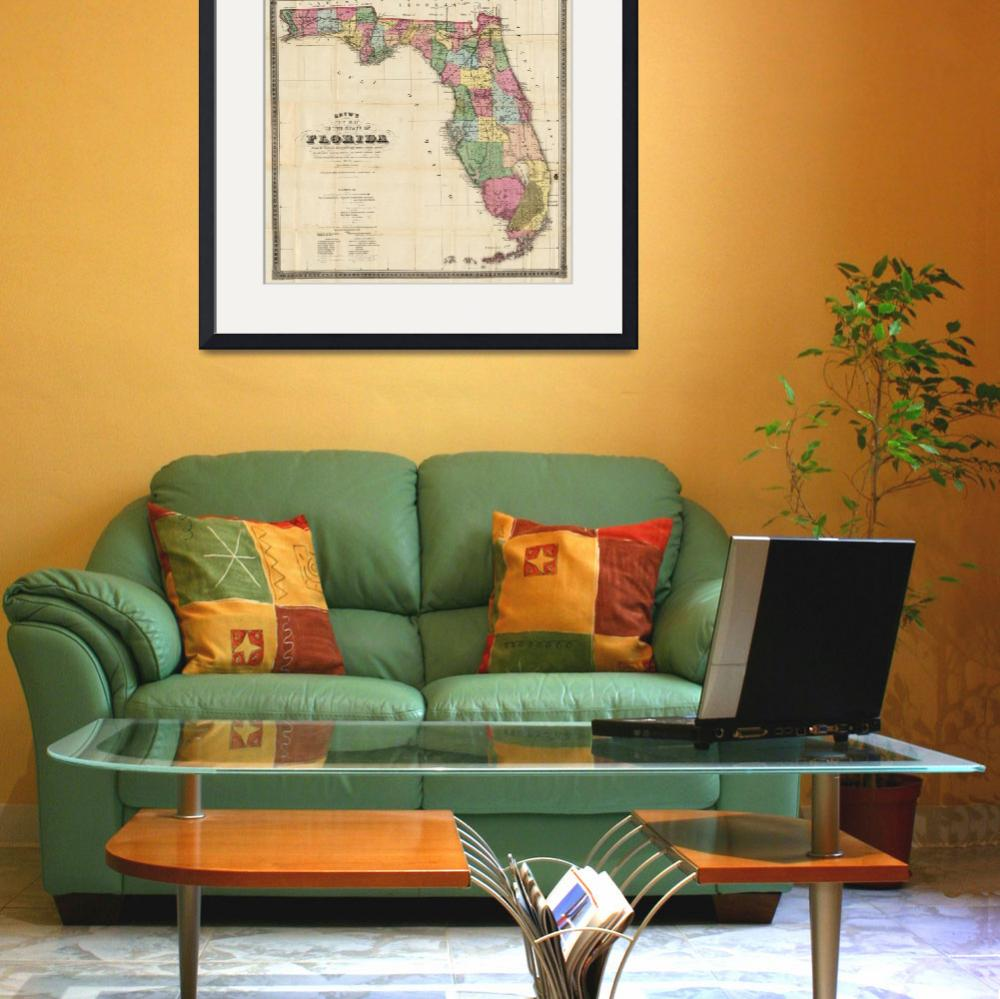 """""""Vintage Map of Florida (1870)&quot  by Alleycatshirts"""