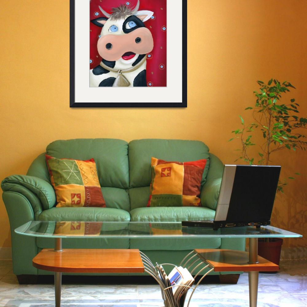 """""""Cow with Red Background&quot  (2010) by jjweststudio"""