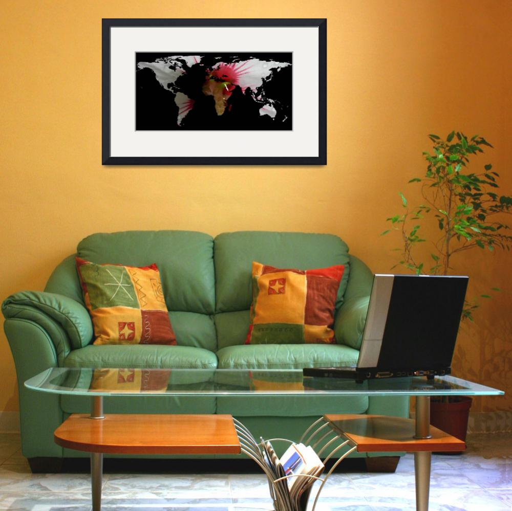 """""""World Map Silhouette - Hibiscus Flower&quot  by Alleycatshirts"""