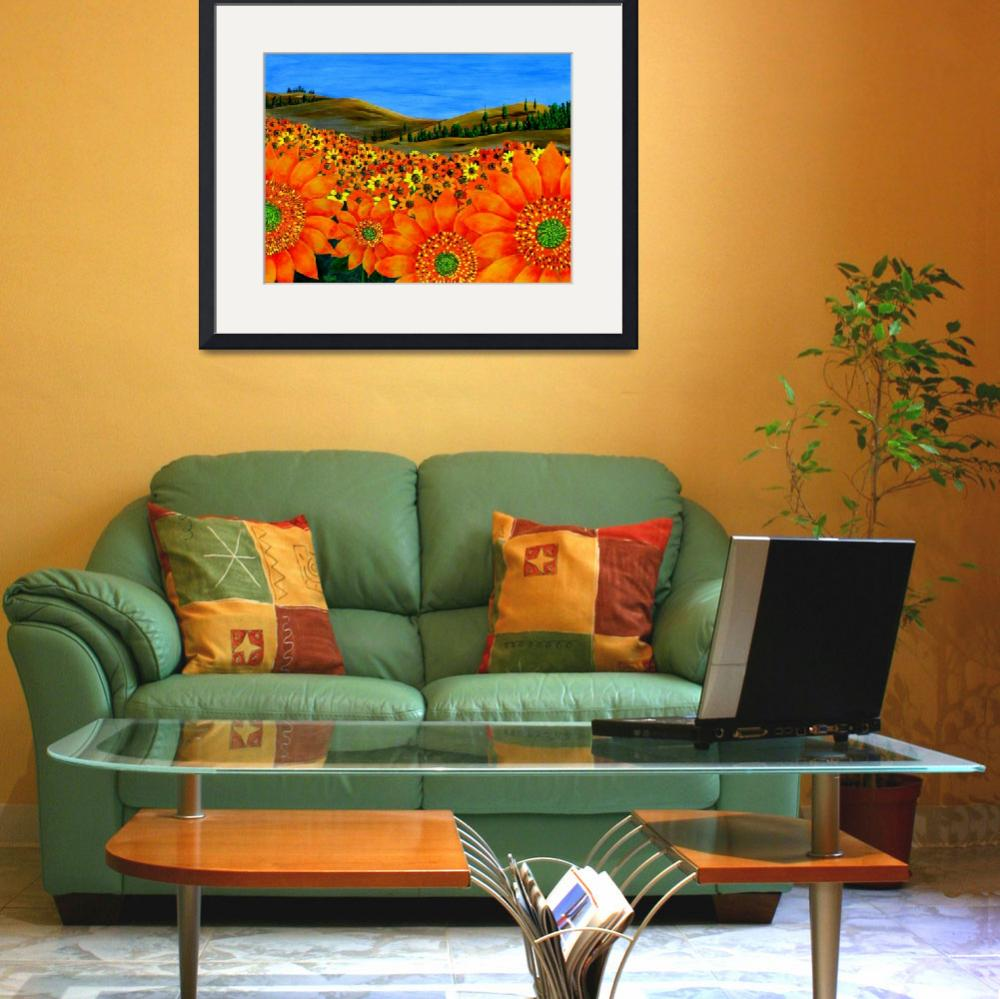 """""""""""Sunflower Field"""" original acrylic painting&quot  (2007) by marnold"""