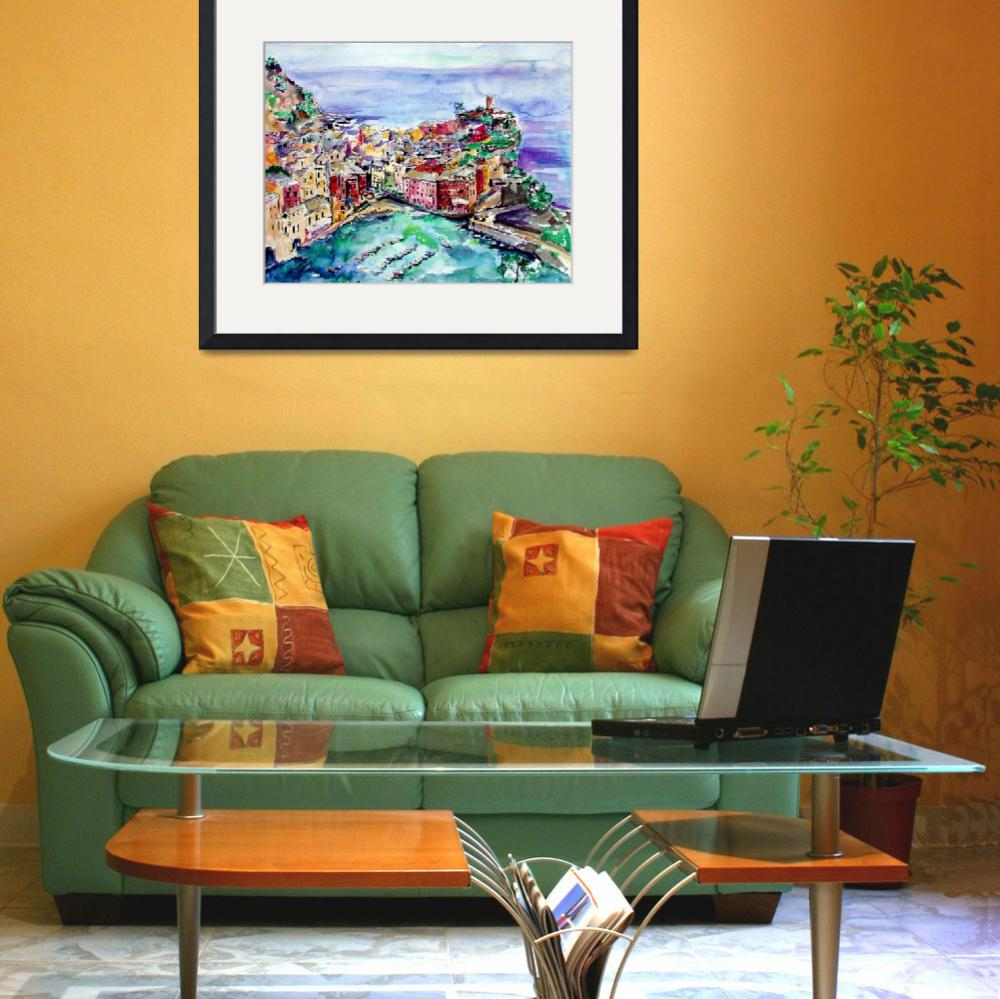 """""""Vernazza Italy Cinque Terre Painting by Ginette&quot  (2003) by GinetteCallaway"""