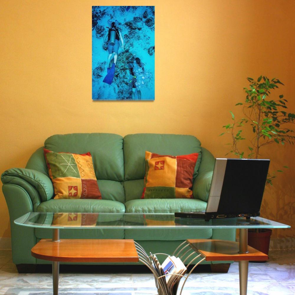 """Two scuba divers swimming, Cozumel, Mexico&quot  by DesignPics"