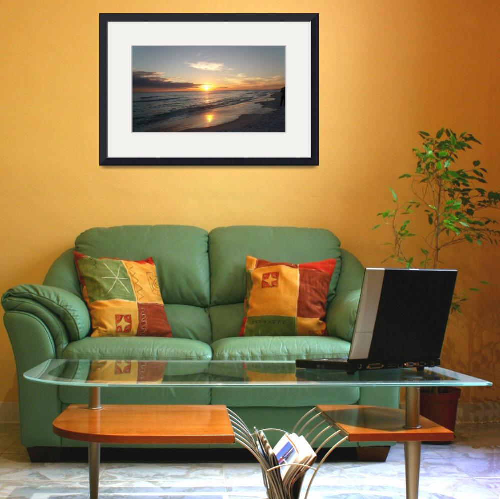 """""""ocean sunset 1&quot  (2013) by craigcalabresewatercolors"""