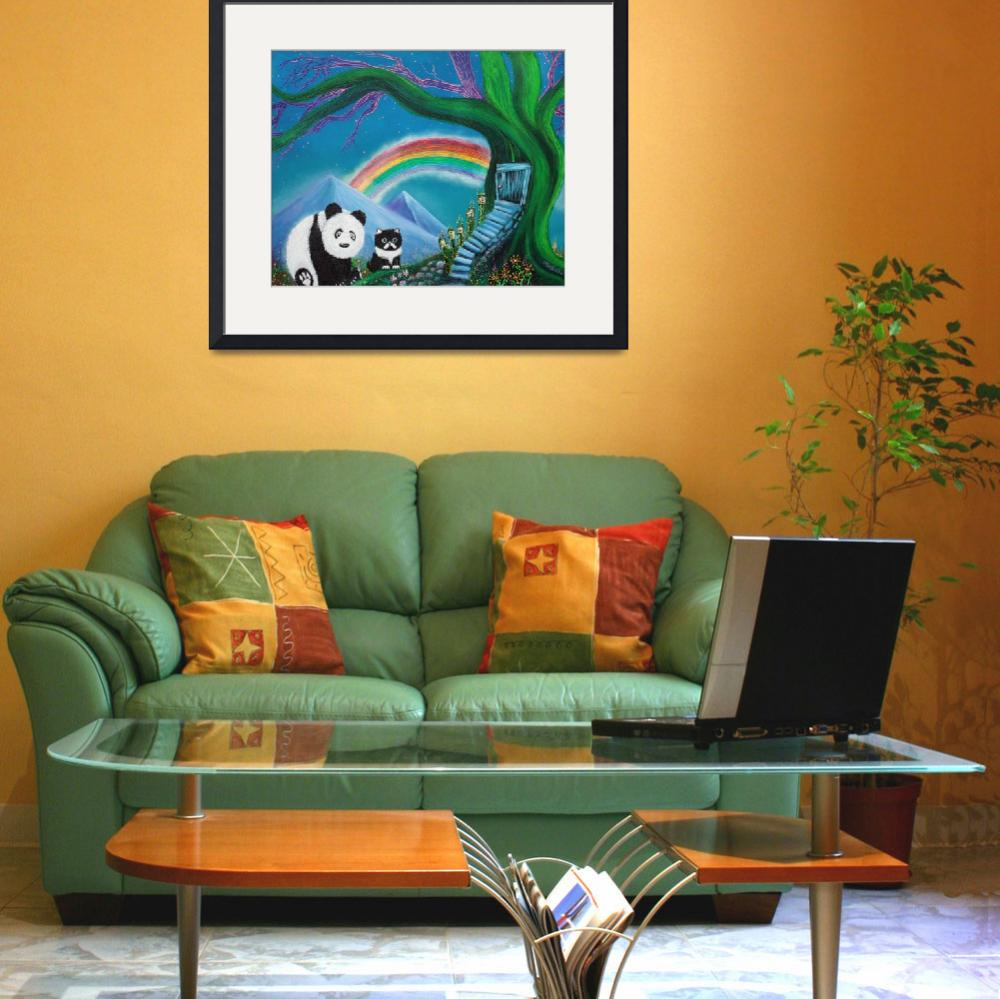 """""""The Panda The Cat and The Rainbow&quot  (2013) by ArtPrints"""