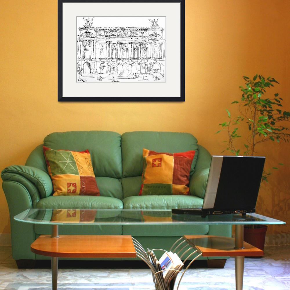 """""""Opera Garnier Paris Ink Drawing by Ginette&quot  (2008) by GinetteCallaway"""