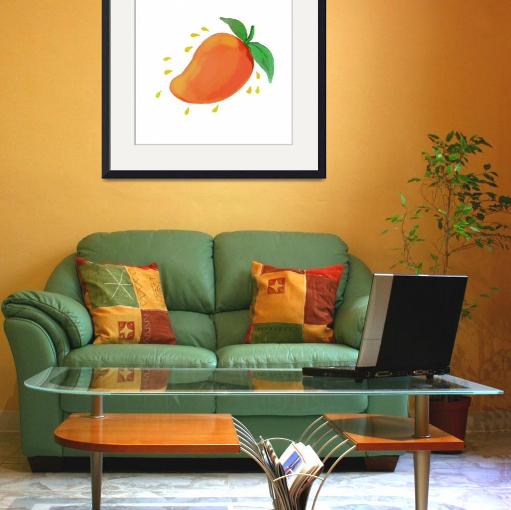 """Juicy Mango Fruit Watercolor&quot  (2016) by patrimonio"