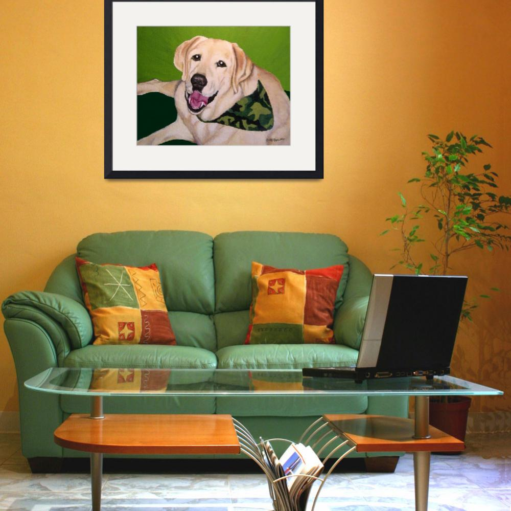 """""""Old Yellow Labrador Retriever at Hunting Camp&quot  (2007) by DogsandFlowers"""