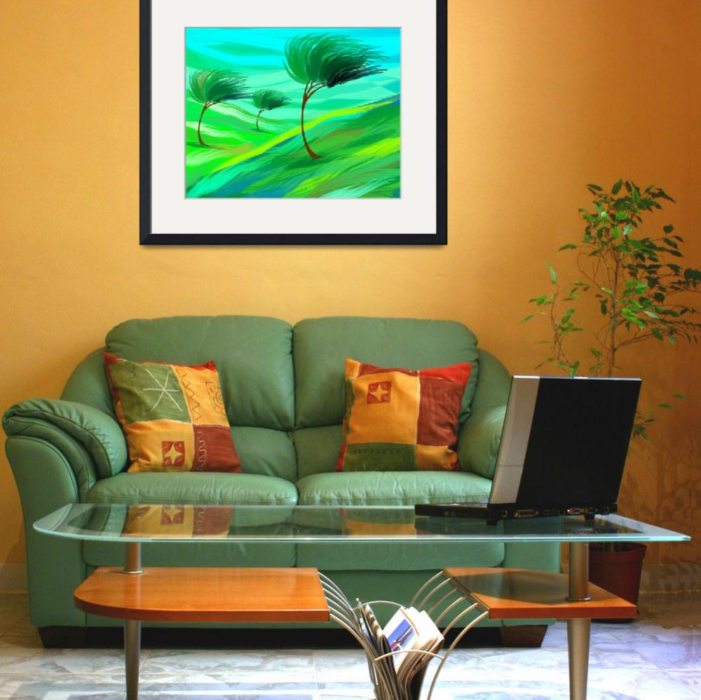 """Digital painting of trees in grassland suffering s""  (2009) by digitalpainting"