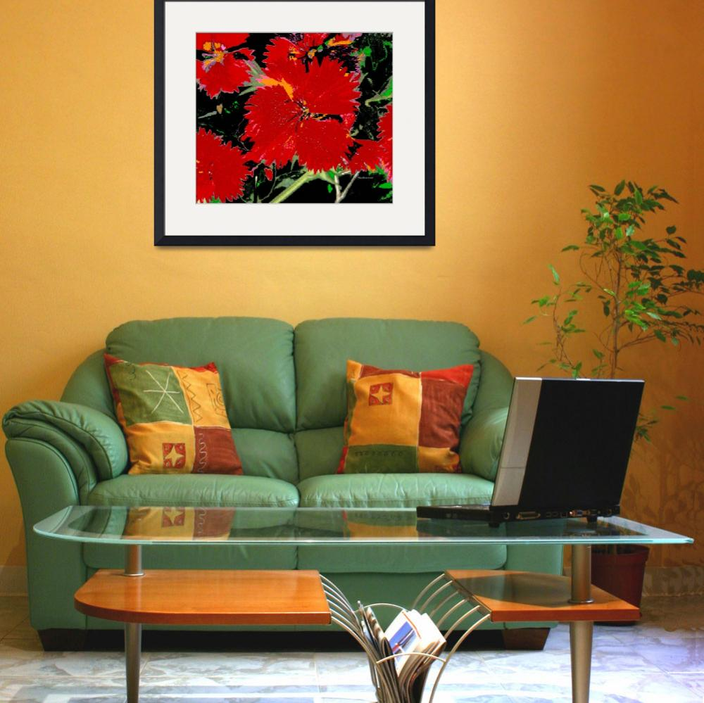 """""""red flower floral&quot  by shanmaree"""
