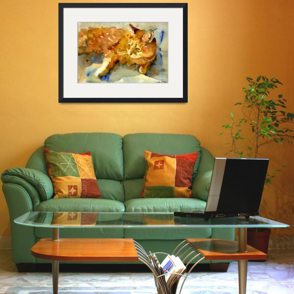 """Tabby Lights, Watercolor Painting Animal Orange Ca""  (2008) by schulmanart"