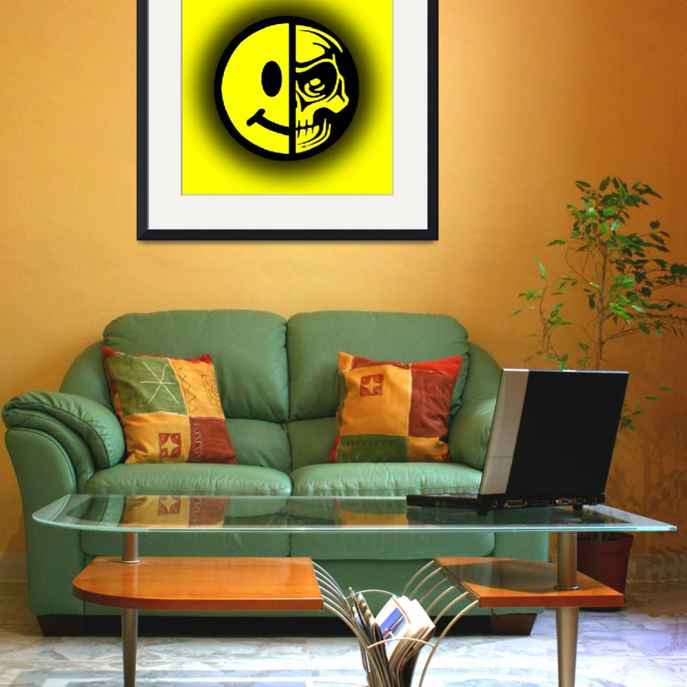 """""""Smiley Face Skull Yellow Shadow&quot  (2015) by RubinoFineArt"""