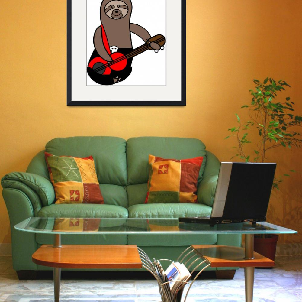 """""""Sloth Playing Bass Cute&quot  (2019) by ValeriesGallery"""