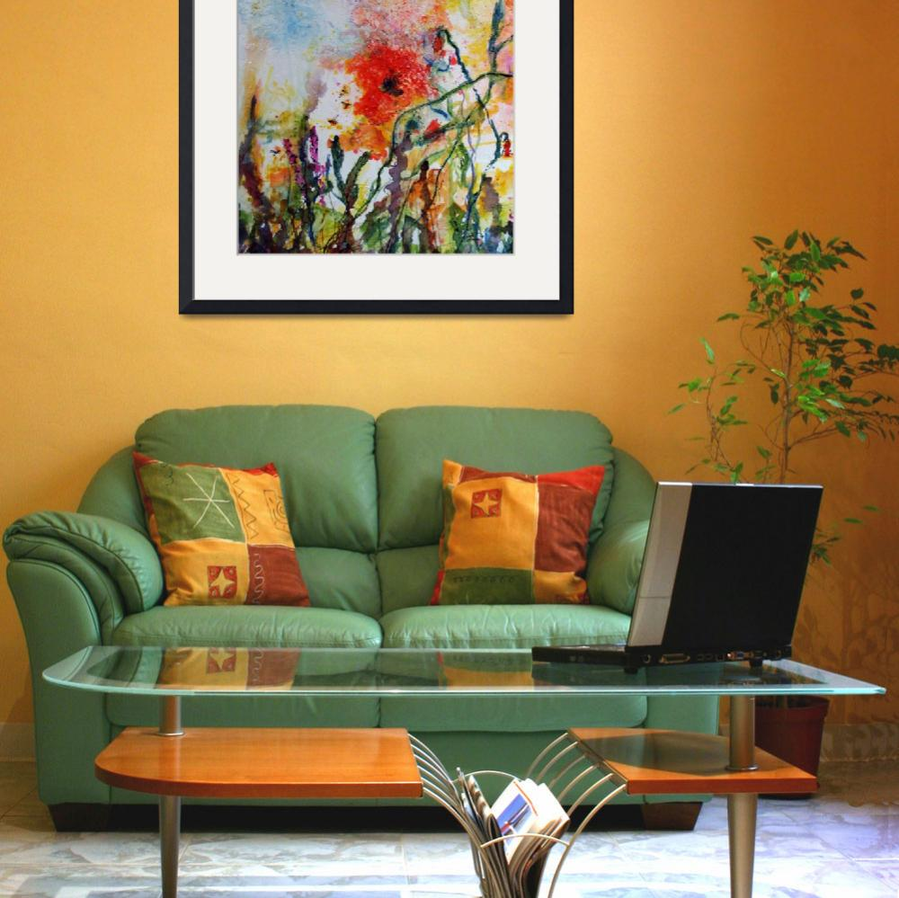 """""""Abstract Poppies Watercolor and Ink by Ginette&quot  (2008) by GinetteCallaway"""