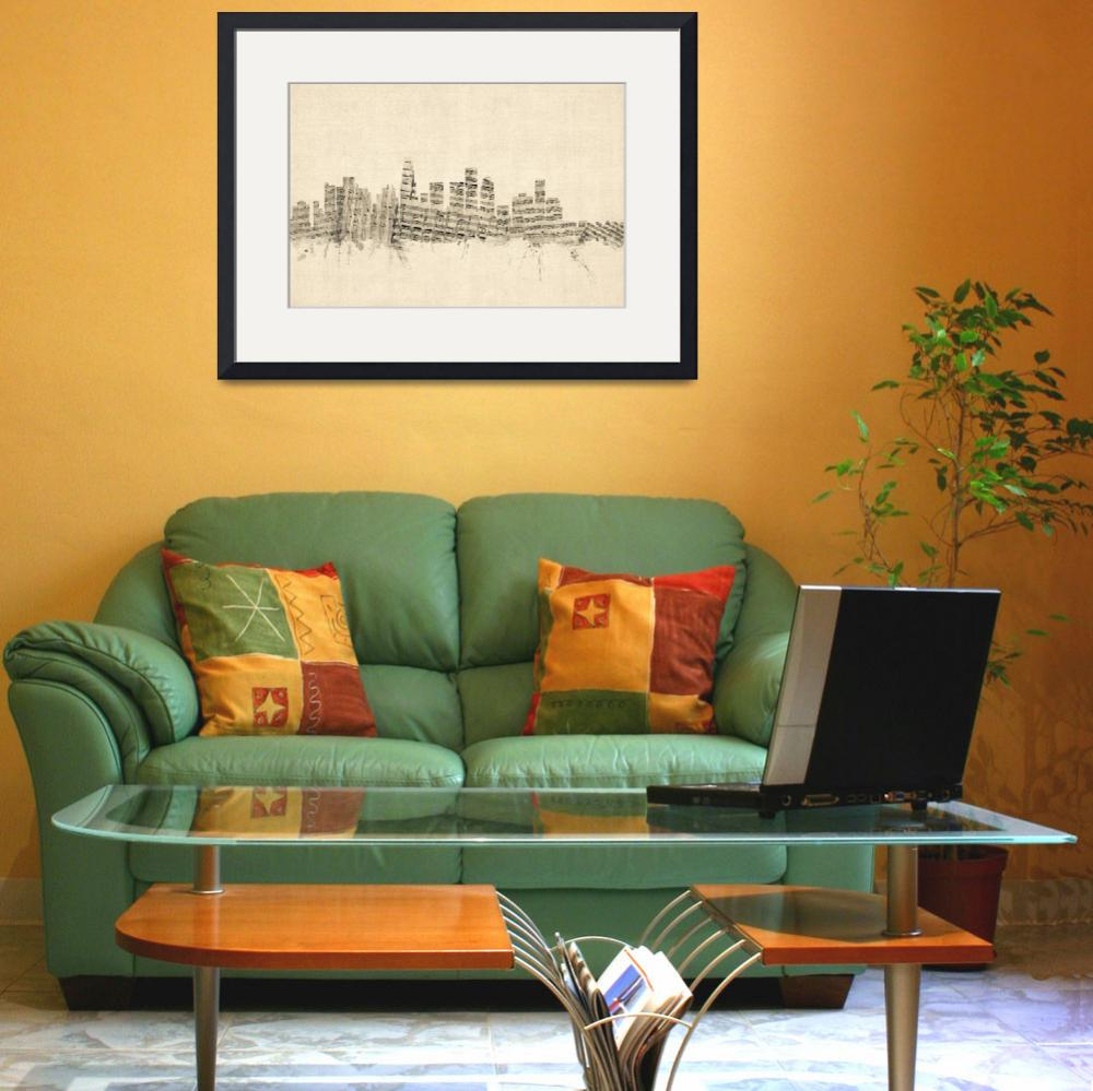 """Los Angeles California Skyline Sheet Music Citysca&quot  (2014) by ModernArtPrints"
