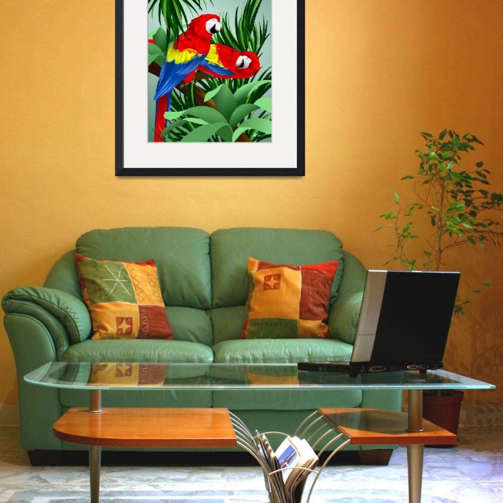 """""""Two Red Parrots&quot  (2013) by waterart"""