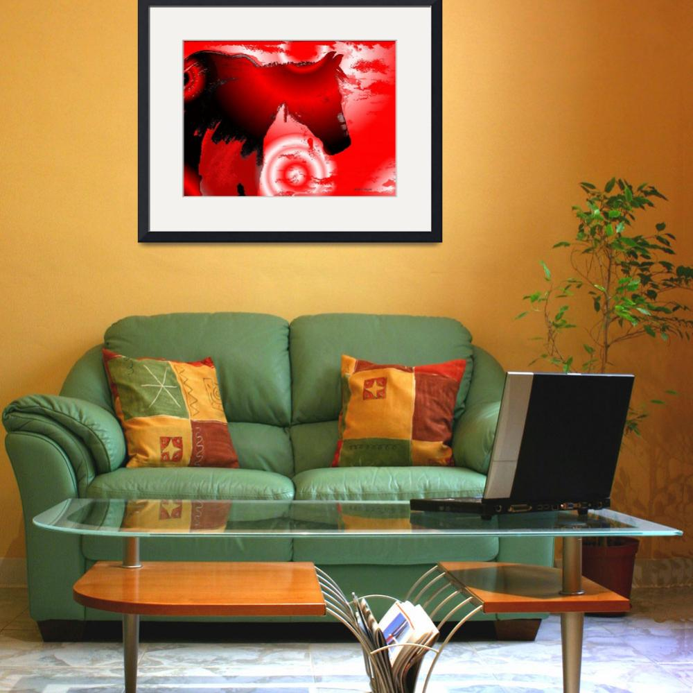 """""""Southwest RED Horse Abstract""""  (2012) by redladyart1"""