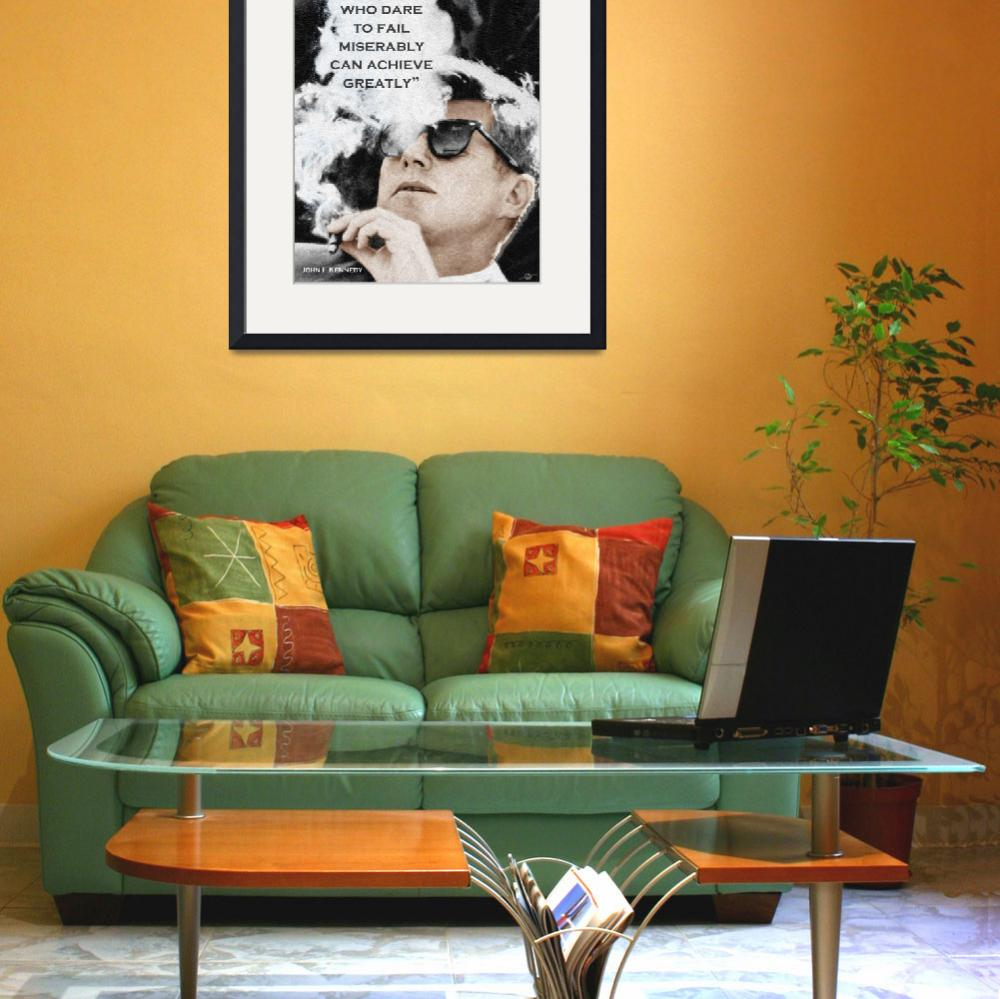 """""""John F Kennedy Cigar and Sunglasses 3 And Quote&quot  (2018) by RubinoFineArt"""