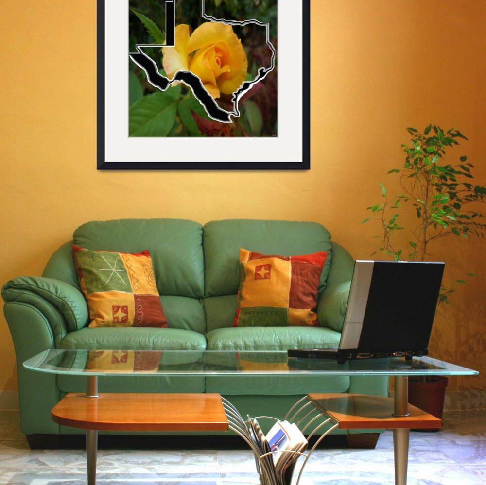 """""""Yellow Rose of Texas with Texas&quot  by EloiseArt"""