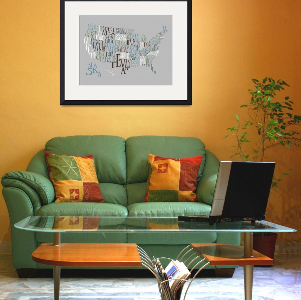 """""""Vintage Chill US Typography Map&quot  by circleart"""