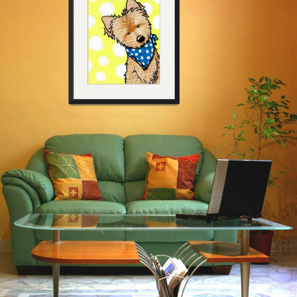 """""""Cairn Terrier on Dotted Yellow&quot  (2011) by KiniArt"""