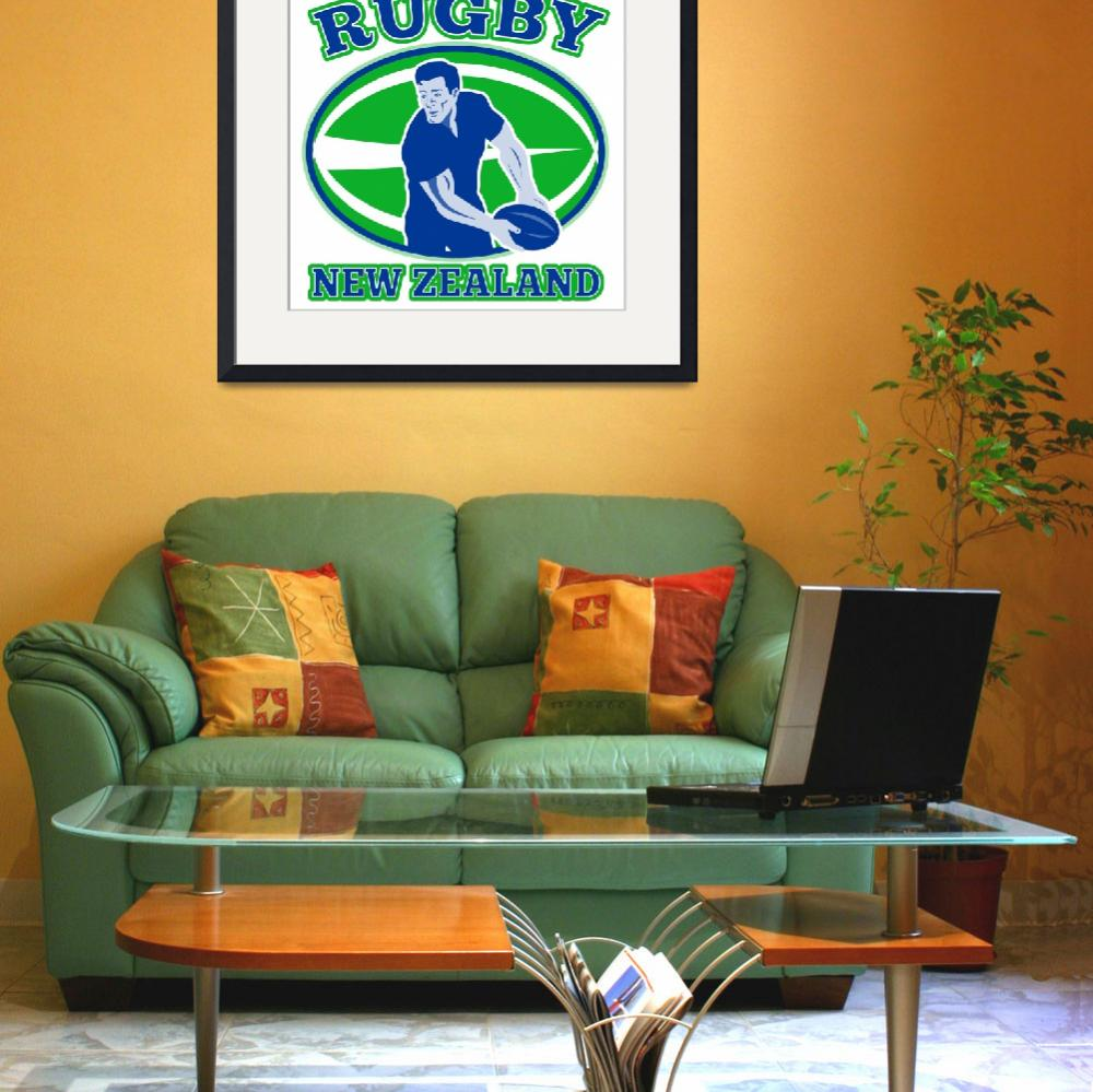 """""""rugby passing front ball new zealand&quot  (2013) by patrimonio"""