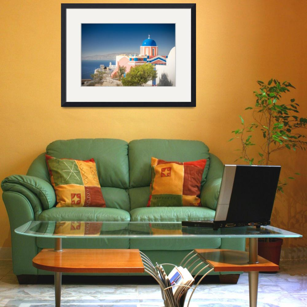"""""""Colorful Church in Santorini""""  (2012) by bkindler"""
