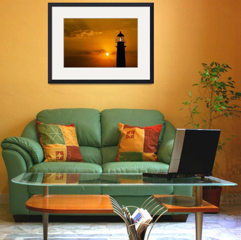 """""""Lighthouse-At-Sunset&quot  (2015) by johnlund"""