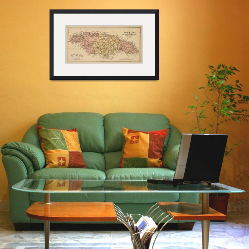 """""""Vintage Map of Jamaica (1893)&quot  by Alleycatshirts"""