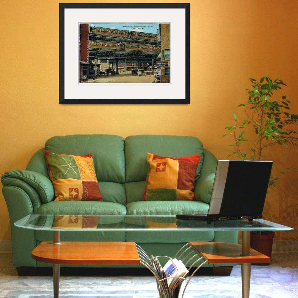 """""""Bowery NYC Double Decker Elevated Train&quot  by Alleycatshirts"""