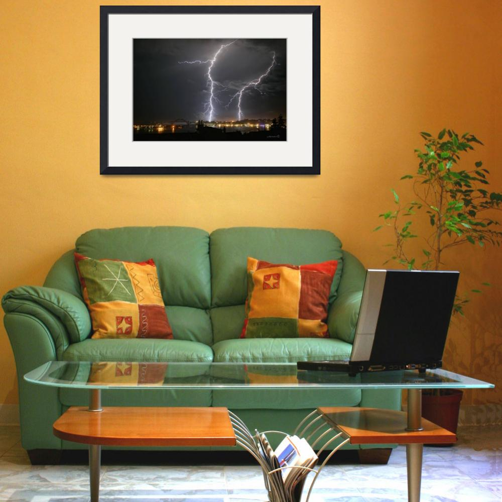 """""""Lightning Over Yaquina Bay&quot  (2005) by jowienert"""