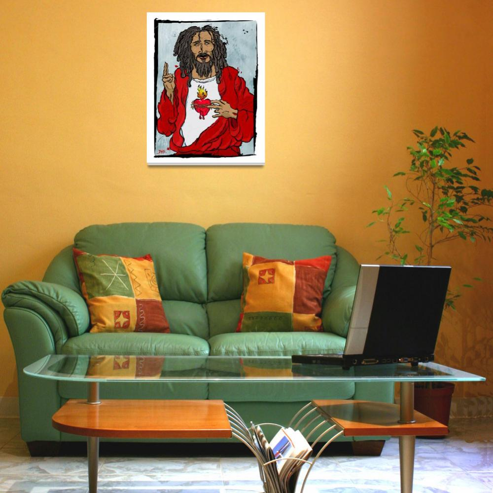 """""""Jesus With Heart&quot  (2005) by tBaneArt"""