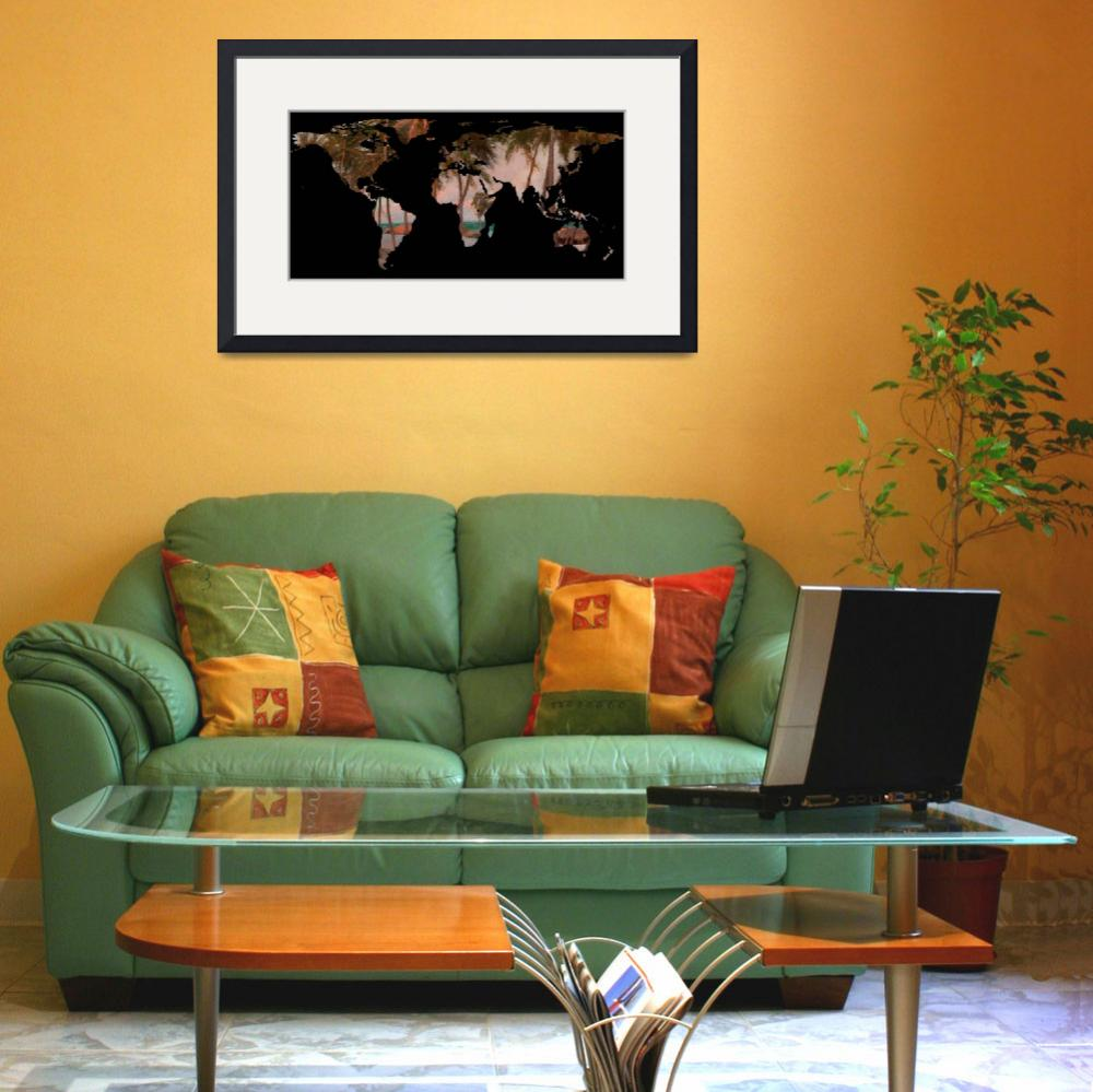 """""""World Map Silhouette - Tropical Beach & Palms&quot  by Alleycatshirts"""