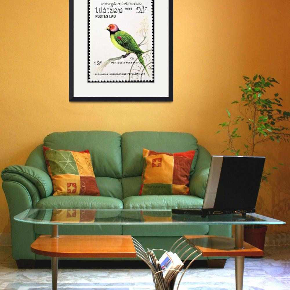 """Blossom-headed Parakeet bird stamp.&quot  by FernandoBarozza"