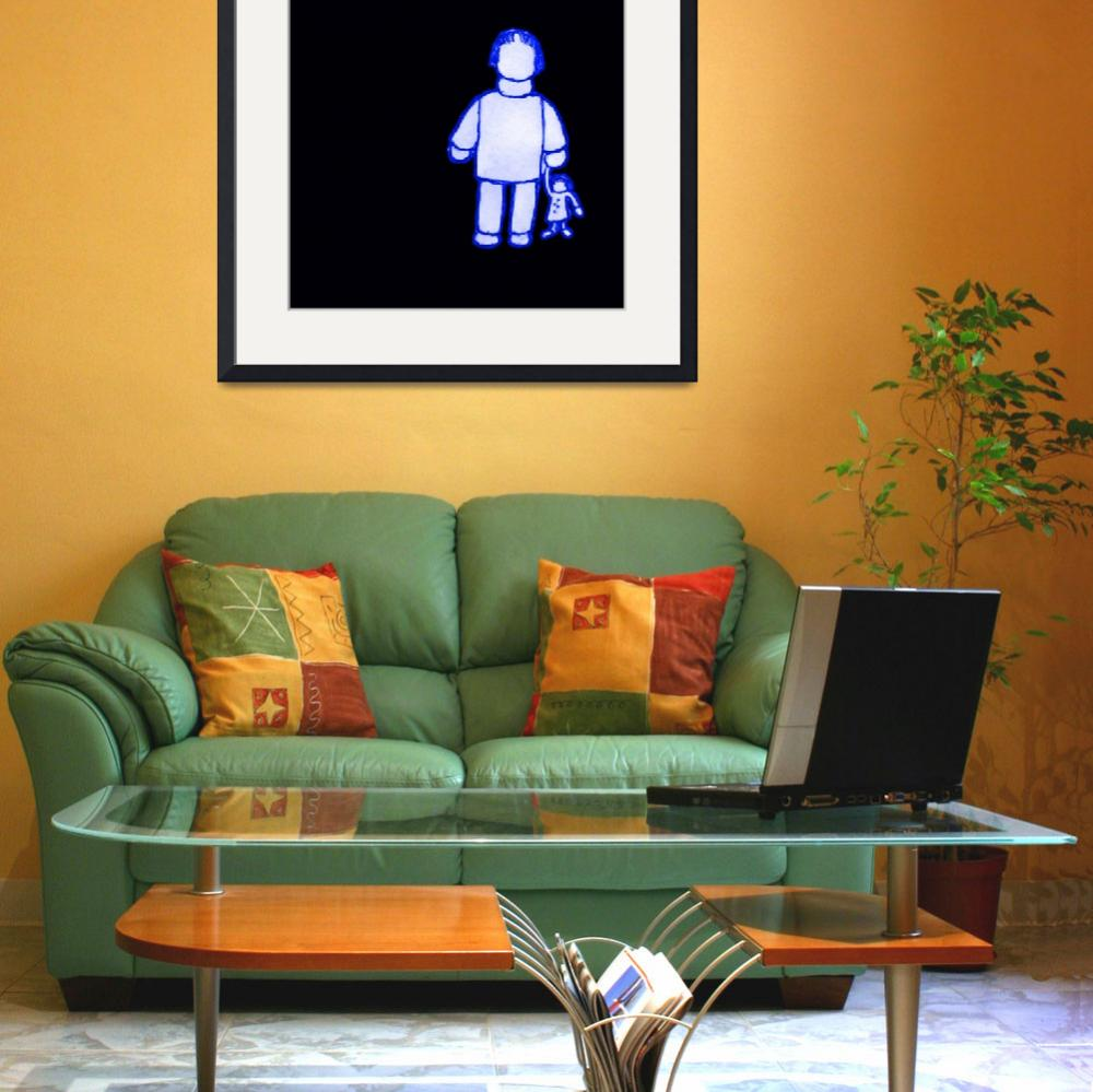 """""""-Girl with Doll-blue&quot  (2008) by mikesartworks"""