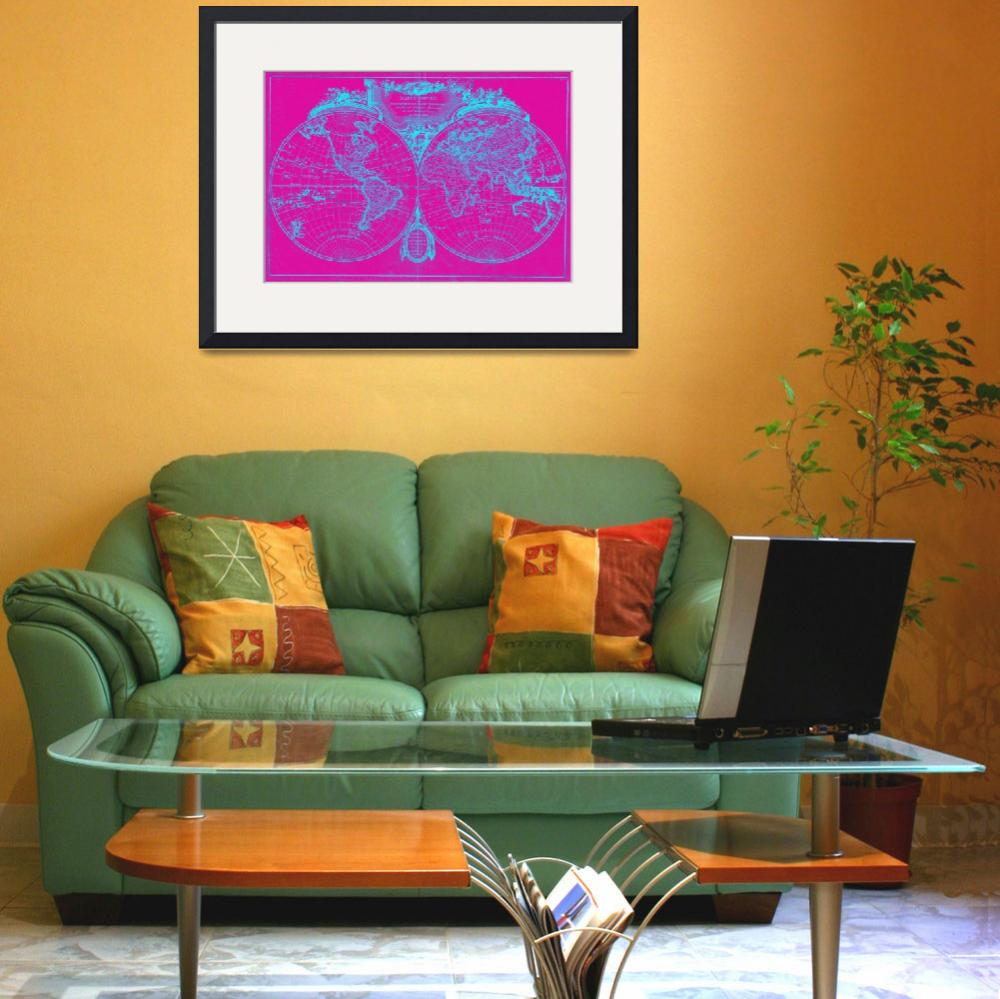 """""""World Map (1775) Pink & Blue&quot  by Alleycatshirts"""