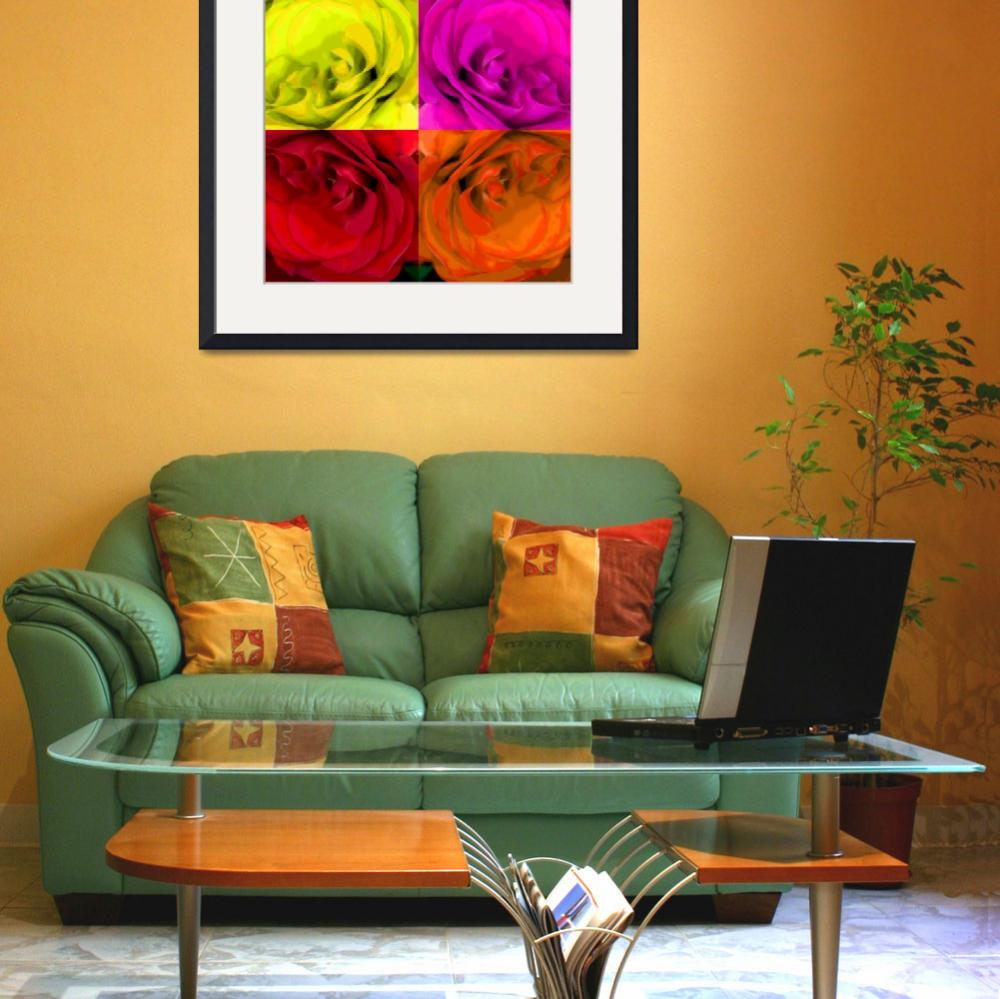 """Majid 4x4 Roses Red yellow orange pink rotated""  (2009) by LeslieTillmann"