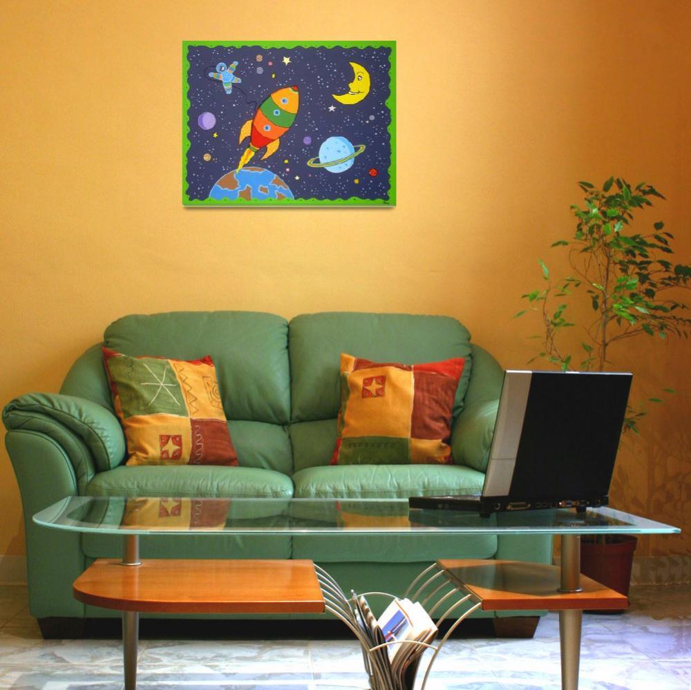 """Space travel nursery painting&quot  (2008) by nopiepan"