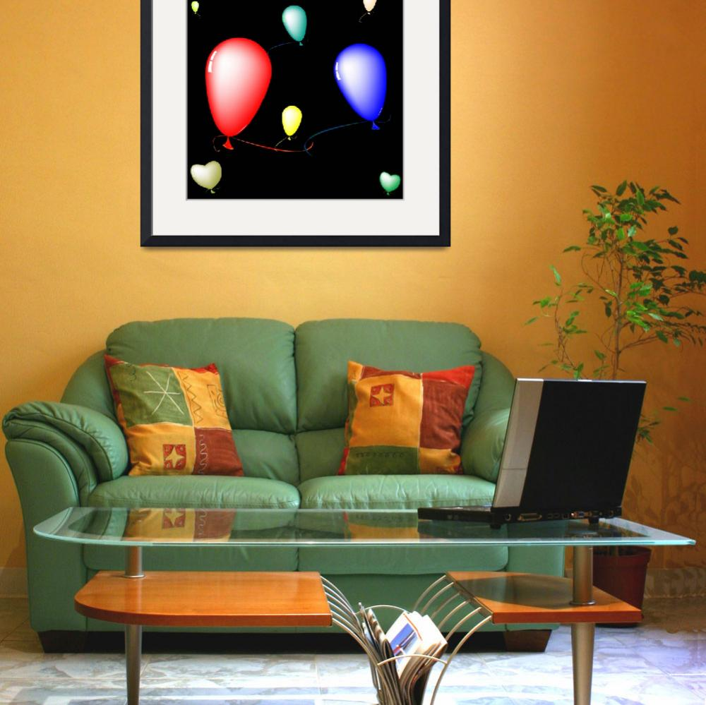 """colored ballons composition over black background&quot  by robertosch"