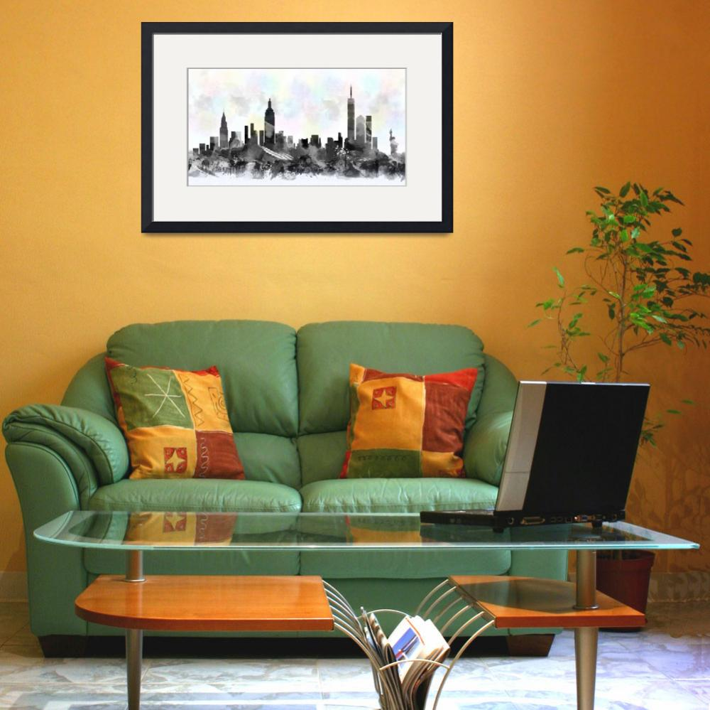 """New York City skyline silhouette watercolor""  (2016) by maryedenoa"