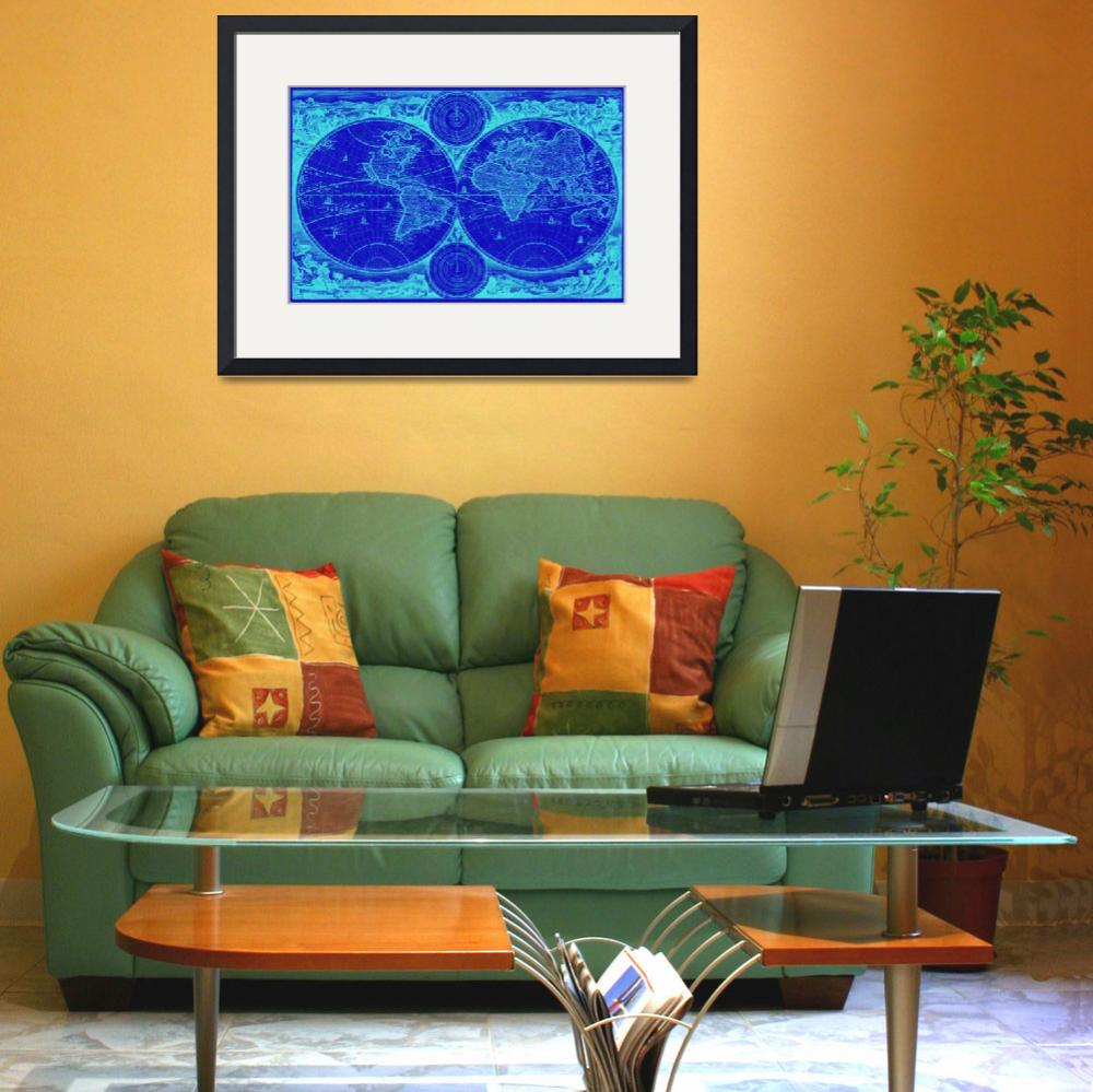 """""""World Map (1730) Blue & Light Blue""""  by Alleycatshirts"""