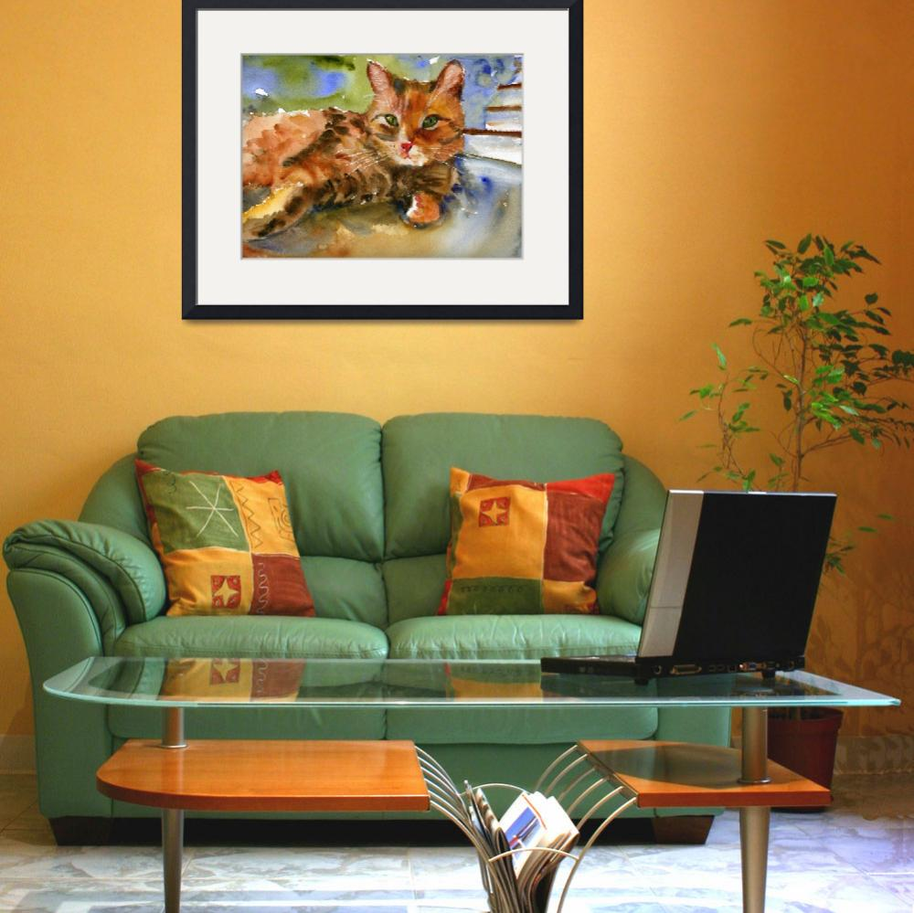 """""""Cat King, Watercolor Painting Animal Orange Ginger&quot  (2008) by schulmanart"""