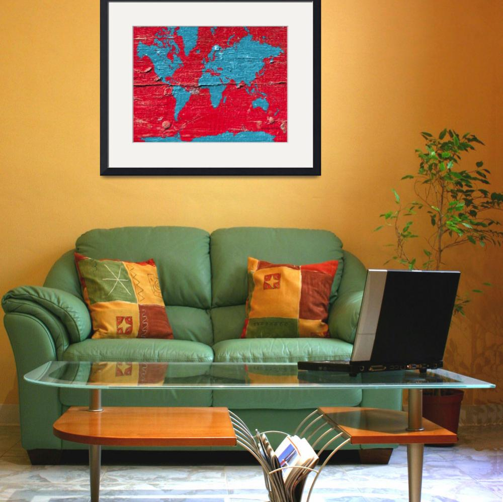 """red- blue- paint-world-map-marlene-watson&quot  by MarleneWatson"